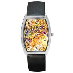 Canvas Acrylic Design Color Barrel Style Metal Watch