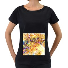 Canvas Acrylic Design Color Women s Loose Fit T Shirt (black)