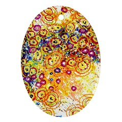 Canvas Acrylic Design Color Oval Ornament (two Sides)