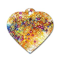 Canvas Acrylic Design Color Dog Tag Heart (one Side)