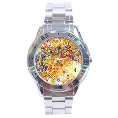 Canvas Acrylic Design Color Stainless Steel Analogue Watch