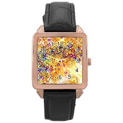 Canvas Acrylic Design Color Rose Gold Leather Watch