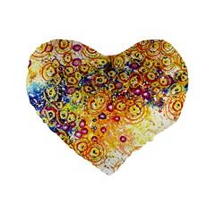 Canvas Acrylic Design Color Standard 16  Premium Flano Heart Shape Cushions