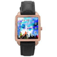 Dirty Dirt Spot Man Doll View Rose Gold Leather Watch