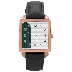 Construction Design Door Exterior Rose Gold Leather Watch