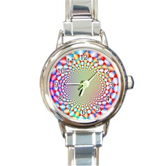 Color Abstract Background Textures Round Italian Charm Watch