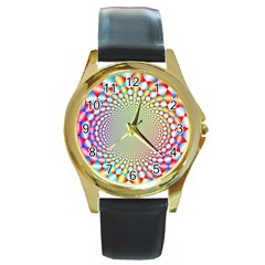 Color Abstract Background Textures Round Gold Metal Watch