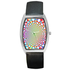 Color Abstract Background Textures Barrel Style Metal Watch
