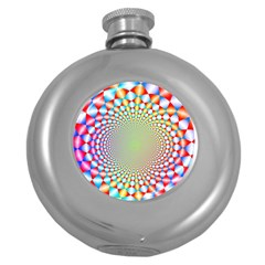 Color Abstract Background Textures Round Hip Flask (5 Oz)