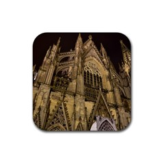 Cologne Church Evening Showplace Rubber Square Coaster (4 pack)