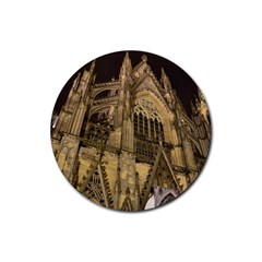Cologne Church Evening Showplace Rubber Coaster (round)