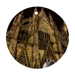 Cologne Church Evening Showplace Round Ornament (two Sides)