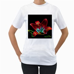 Flower Pattern Design Abstract Background Women s T Shirt (white) (two Sided)