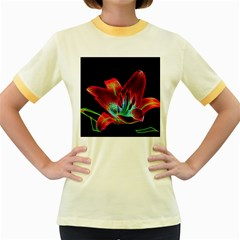 Flower Pattern Design Abstract Background Women s Fitted Ringer T Shirts
