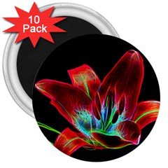 Flower Pattern Design Abstract Background 3  Magnets (10 Pack)