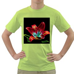 Flower Pattern Design Abstract Background Green T Shirt