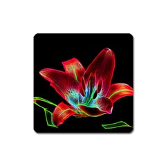 Flower Pattern Design Abstract Background Square Magnet