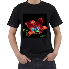 Flower Pattern Design Abstract Background Men s T Shirt (black) (two Sided)