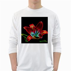 Flower Pattern Design Abstract Background White Long Sleeve T-Shirts