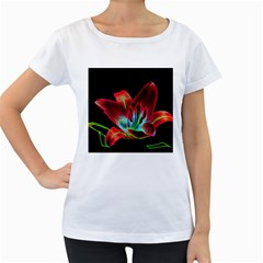 Flower Pattern Design Abstract Background Women s Loose Fit T Shirt (white)
