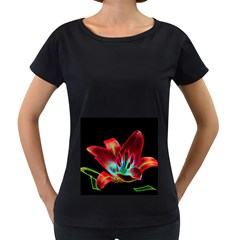 Flower Pattern Design Abstract Background Women s Loose Fit T Shirt (black)