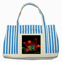 Flower Pattern Design Abstract Background Striped Blue Tote Bag