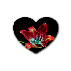 Flower Pattern Design Abstract Background Rubber Coaster (heart)