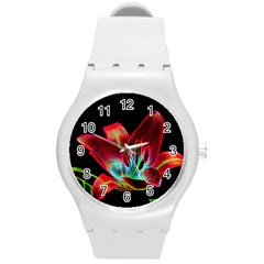 Flower Pattern Design Abstract Background Round Plastic Sport Watch (m)