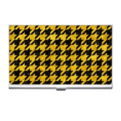 Houndstooth1 Black Marble & Yellow Marble Business Card Holder