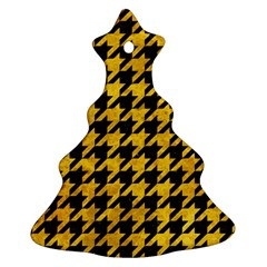 Houndstooth1 Black Marble & Yellow Marble Ornament (christmas Tree)