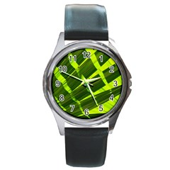 Frond Leaves Tropical Nature Plant Round Metal Watch