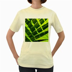 Frond Leaves Tropical Nature Plant Women s Yellow T Shirt