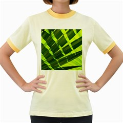 Frond Leaves Tropical Nature Plant Women s Fitted Ringer T Shirts
