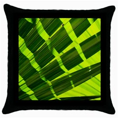 Frond Leaves Tropical Nature Plant Throw Pillow Case (black)