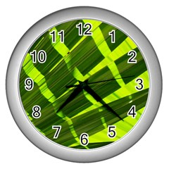 Frond Leaves Tropical Nature Plant Wall Clocks (silver)