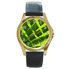 Frond Leaves Tropical Nature Plant Round Gold Metal Watch