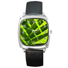 Frond Leaves Tropical Nature Plant Square Metal Watch