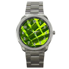 Frond Leaves Tropical Nature Plant Sport Metal Watch