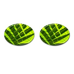 Frond Leaves Tropical Nature Plant Cufflinks (oval)