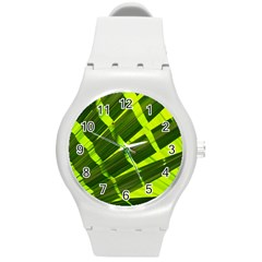 Frond Leaves Tropical Nature Plant Round Plastic Sport Watch (m)