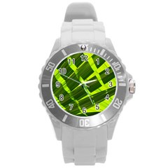 Frond Leaves Tropical Nature Plant Round Plastic Sport Watch (l)