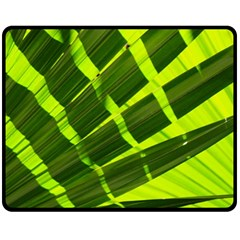 Frond Leaves Tropical Nature Plant Double Sided Fleece Blanket (medium)