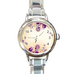 Floral Background Round Italian Charm Watch