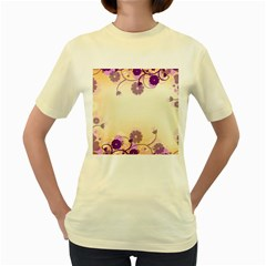 Floral Background Women s Yellow T-Shirt