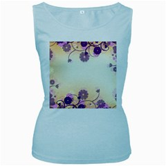 Floral Background Women s Baby Blue Tank Top