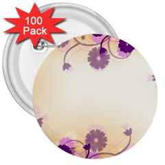 Floral Background 3  Buttons (100 Pack)