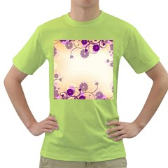Floral Background Green T Shirt