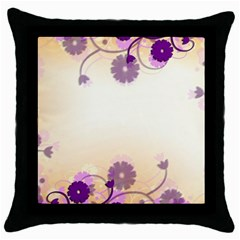 Floral Background Throw Pillow Case (black)