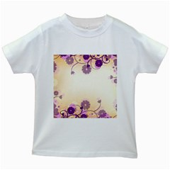 Floral Background Kids White T Shirts