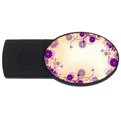 Floral Background Usb Flash Drive Oval (2 Gb)